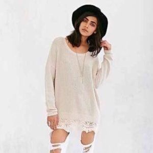 UO Pins & Needles Oversized Lace Trim Sweater